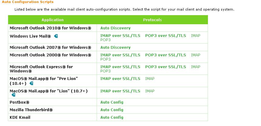 Configurações automáticas